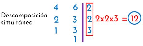 descomposición en factores primos de manera simultánea de 4 y 6