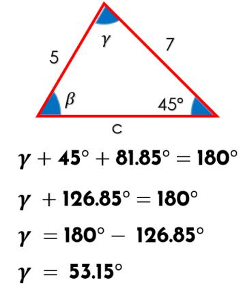 obtener el ángulo utilizando la sumatoria de ángulos internos