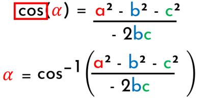 despejar el coseno del teorema del coseno
