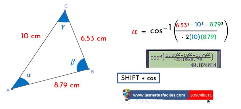 calcular el ángulo utilizando teorema del coseno
