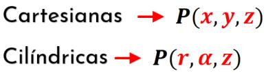 coordenadas cartesianas y cilíndricas