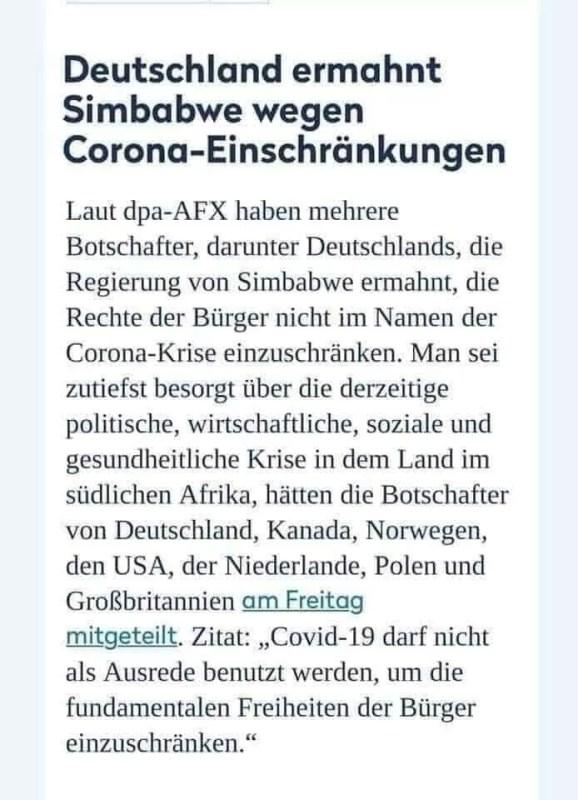 Deutschland ermahnt Simbabwe