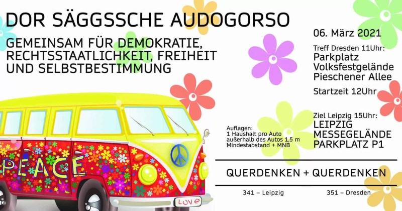 Autokorso der Dresdner Querdenker von Dresden nach Leipzig