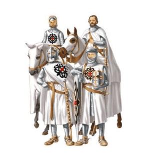 Caballeros con el manto blanco y la Cruz de Montesa