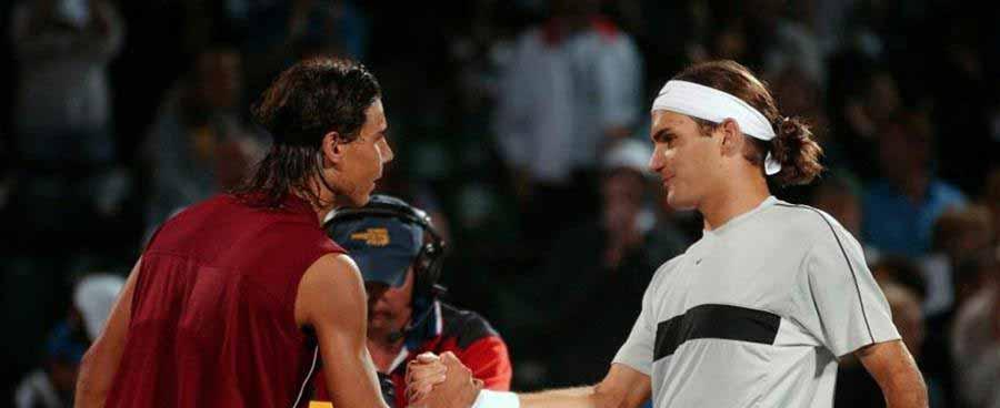 Rafa Nadal y Roger Federer, en su primer enfrentamiento en Miami 2004. (Imagen. La Soga Revista Cultural).