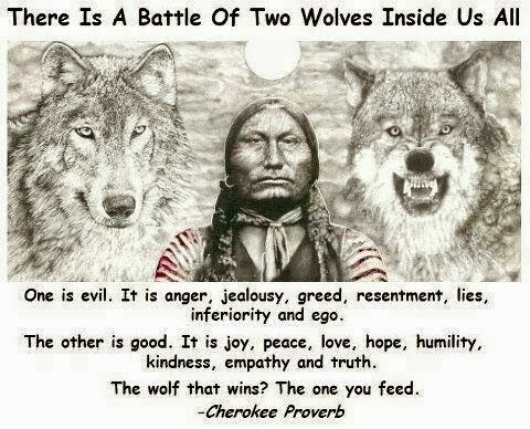 battle two wolves