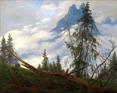 C. D. Friedrich, vetta con nuvole in movimento.
