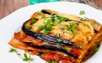 Piece of vegetable lasagna