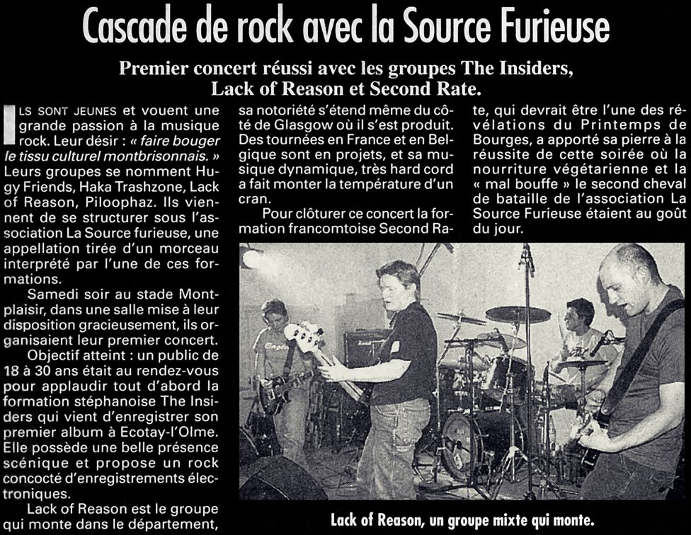 la tribune, le progres, presse, la source furieuse, moingt, lack of reason, the insinders, second rate, concert, 42600, montbrison