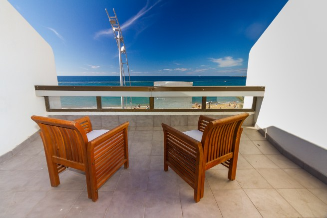 Terrace of excellent value Las Canteras beachfront apartment for sale