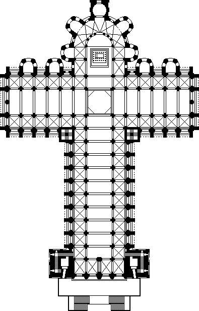 Reconstrucción de la que podría haber sido la planta de la catedral en el siglo XII.