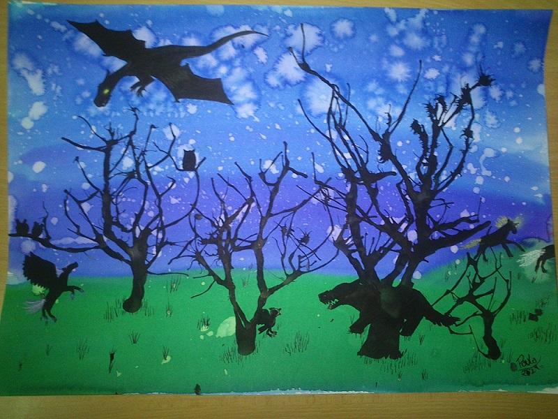 Pintura Bosque nocturno a Acuarela y Tinta China