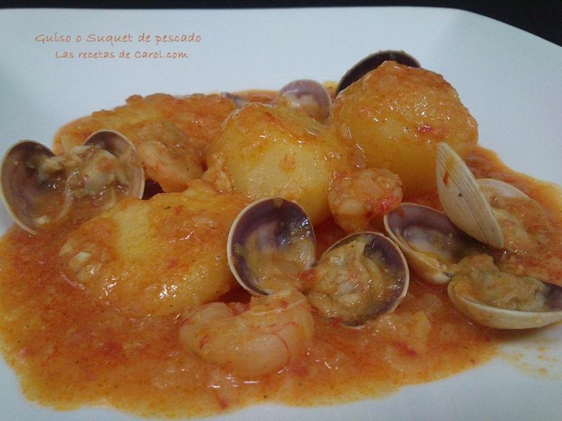 Guiso o suquet de pescado y marisco