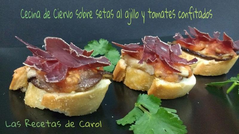 Montadito de Cecina, Setas al ajillo y tomates confitados (4)