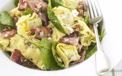 Recetas – Tortellini de ricota, espinaca y tocino