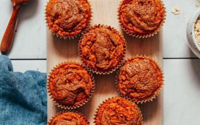 Muffins de papa dulce y mantequilla de almendras esponjosas (GF)