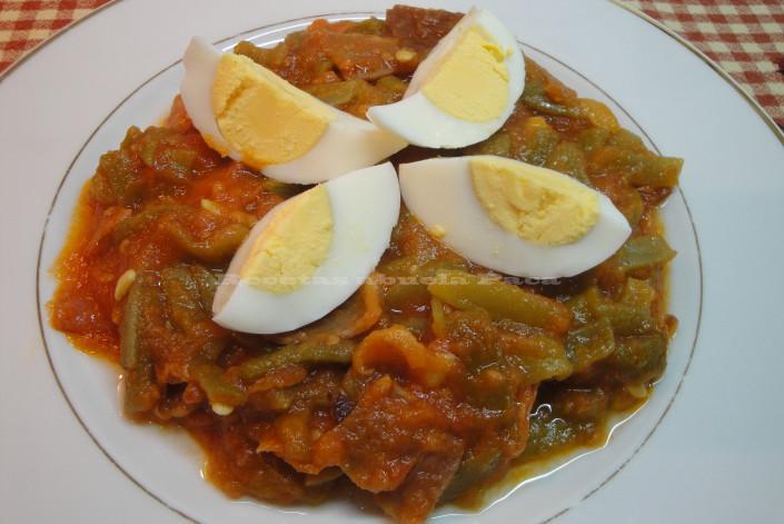 Judías verdes con tomate y jamón0 (0)