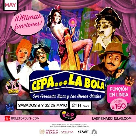 Postal Cepa La Bola con Las Reinas Chulas y Fernanda Tapia, CabareZoom, Mayo 2021