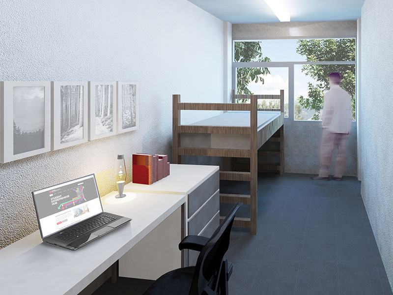 Traditional room Digital rendering of Lassonde Studios.