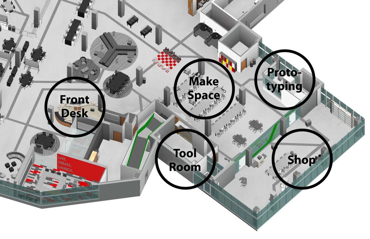 Make Program Spaces in Hangar at Lassonde Studios