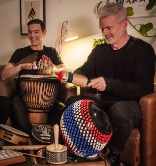 Drumming with the neighbours: Neil and Dean!