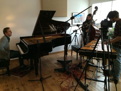 Tom Hewson, Calum Gourlay and Lewis Wright preparing to record and film Treehouse