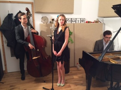 Adam King, Verushka George and Matt Robinson recording some standards!