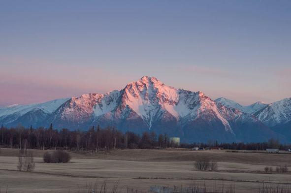 Pioneer Peak Alpenglow Matanuska Valley, AK Exif: 1/160 sec., f/8.0, ISO 250, 50mm Photo by Last Frontier Magazine Alaska