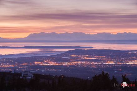 Twilight glow seen from the Glen Alps Trail.
