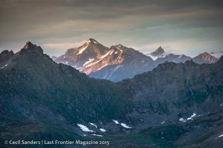 Rocky Talkeetna Mountains with late evening colors along their western facing sides. www.cecilsandersphotography.com