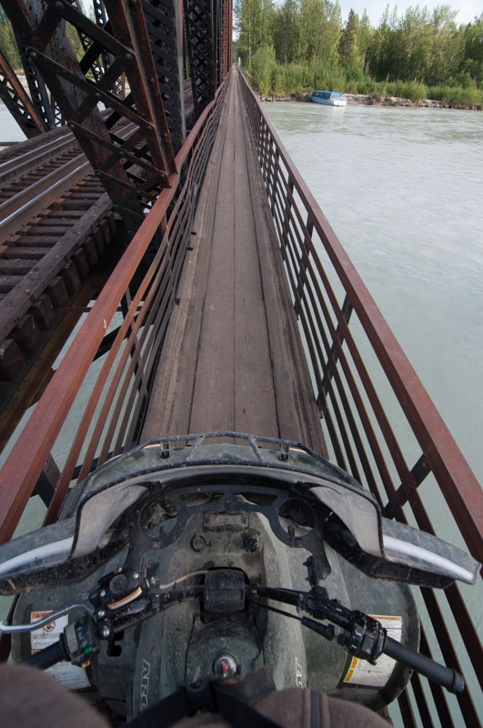 Crossing the pedestrian/ATV bridge over Talkeetna River. Photo by Cecil Sanders Photography / www.cecilsandersphotography.com