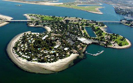 This gorgeous 44-acre island has a one mile white sand beach and is the location of Paradise Point Resort and Spa