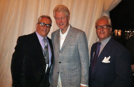 Matt and Mark Harris enjoy speaking with Bill Clinton.