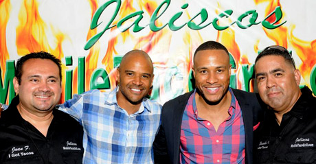 Dondre Whitfield, DeVon Franklin with Jalisco's Mexican food