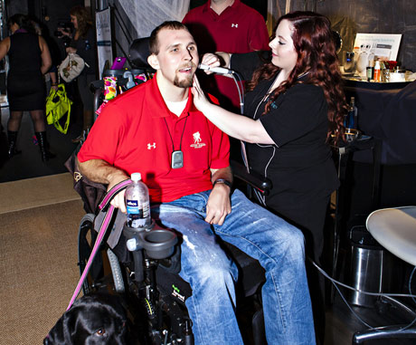 Wounded Warrior Josh Sommers enjoys a facial treatment from Spa del Rey - Photo: Karen Ray
