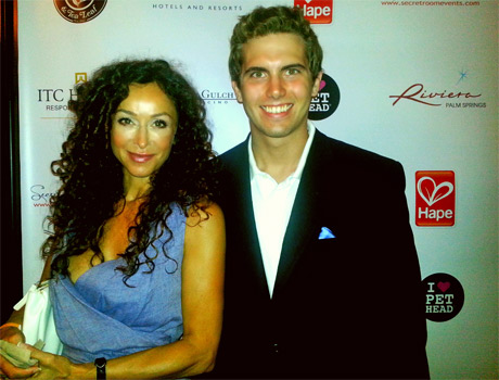 Beautiful CSI Miami actress Sofia Milos, with LATP journalist Tyler Emery. Sofia is coming out with her own skincare line.