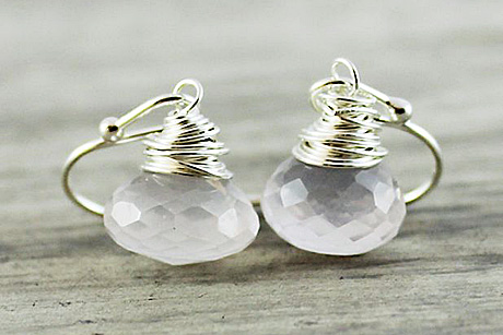Light Rose Earrings, Quartz Gemstone Earrings, Baby Pink Earrings, Sterling… Candy Kiss Collection Gemstone Earrings gifted by Starletta Designs.