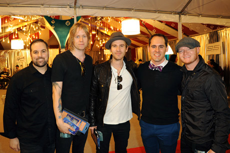 Musicians Bryce Soderberg (2nd from L), Jason Wade (C) and Rick Woolstenhulme Jr. (R) of Lifehouse attends the GRAMMY gift lounge during The 57th Annual GRAMMY Awards