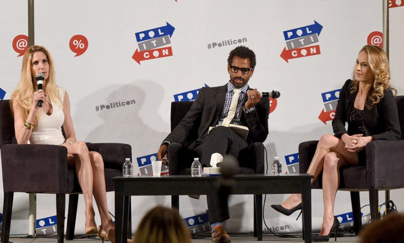 (L-R) Ann Coulter, moderator Toure, and Ana Kasparian at 'Ann Coulter vs. Ana Kasparian' panel during Politicon at Pasadena Convention Center on July 29, 2017 in Pasadena, California. (Photo by Joshua Blanchard/Getty Images for Politicon) Keywords - Arts Culture and Entertainment, Celebrities, Politics, Fashion, Film Industry