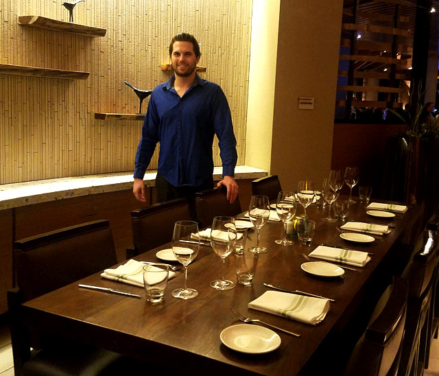 One of a few beautiful private dining rooms at the Marina Kitchen. With Tyler Emery.
