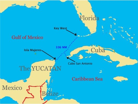 Sailing route from Key West to Isla Mujeres