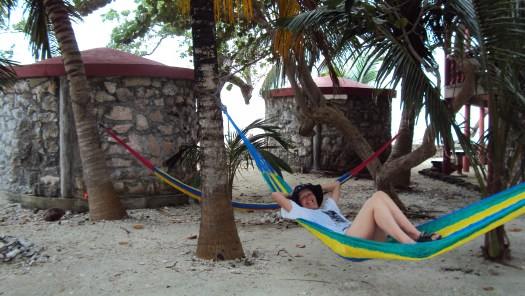 Chilling under the palms on Tom Owens Cay