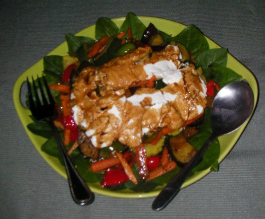 Spinach salad is delicious when Lindsay adds goat cheese and lentils!