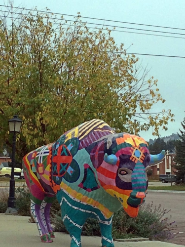 One of the Many Delightfully Painted Bison in Custer, SD