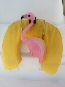 I rescued Tom and Linda Erb's flamingo from their trash can. Very Keysee.