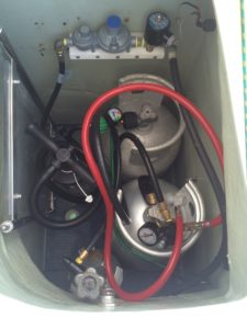 LP Gas locker with custom valve and shut off bracket, also CO2 carbonizing system is in there for beer and water.