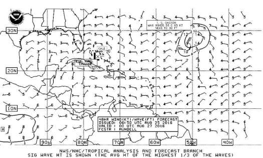 48 hr wind and wave forecast for 8pm 26-aug-16