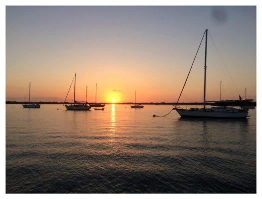 Sunrise over the city mooring field Key west