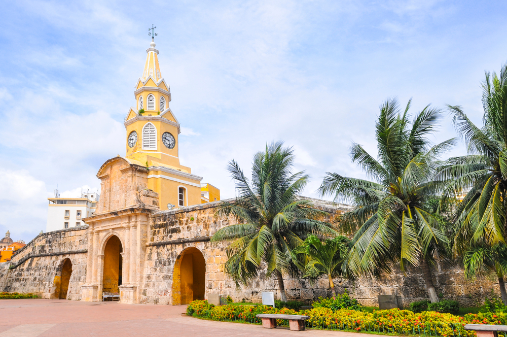 Historic stone wall in Cartagena, Colombia
