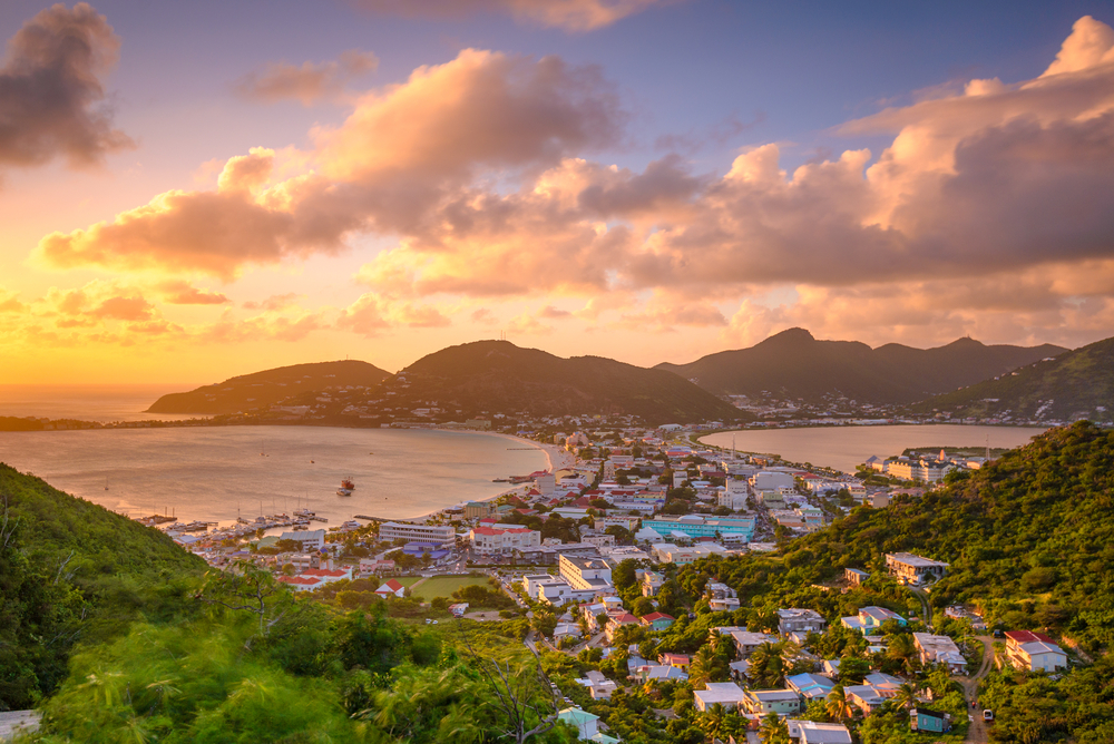 Aerial view of mountainous tropical city-scape in St. Maarten